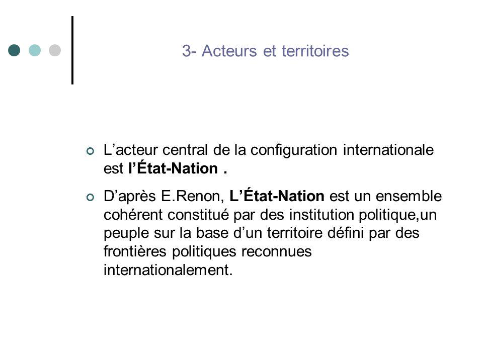 3- Acteurs et territoires Lacteur central de la configuration internationale est lÉtat-Nation. Daprès E.Renon, LÉtat-Nation est un ensemble cohérent c