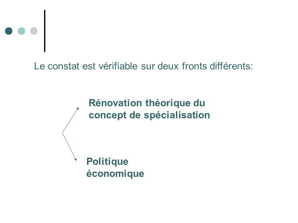 Rénovation théorique du concept de spécialisation Politique économique Le constat est vérifiable sur deux fronts différents: