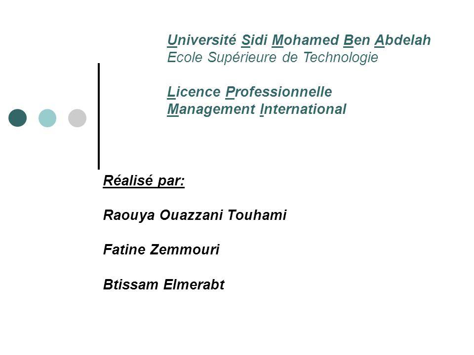 Université Sidi Mohamed Ben Abdelah Ecole Supérieure de Technologie Licence Professionnelle Management International Réalisé par: Raouya Ouazzani Touh