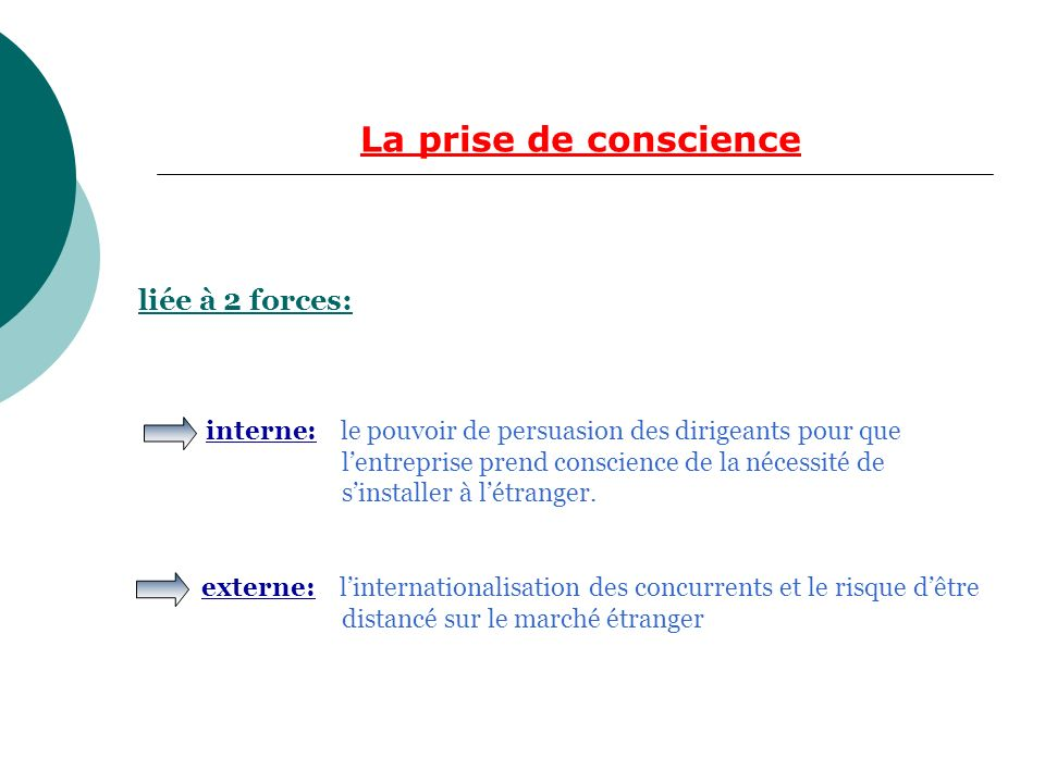 La prise de conscience liée à 2 forces: interne: le pouvoir de persuasion des dirigeants pour que lentreprise prend conscience de la nécessité de sinstaller à létranger.
