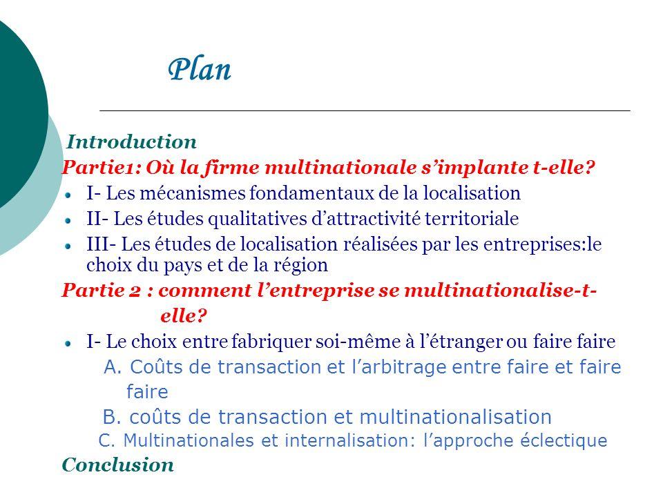 Plan Introduction Partie1: Où la firme multinationale simplante t-elle? I- Les mécanismes fondamentaux de la localisation II- Les études qualitatives