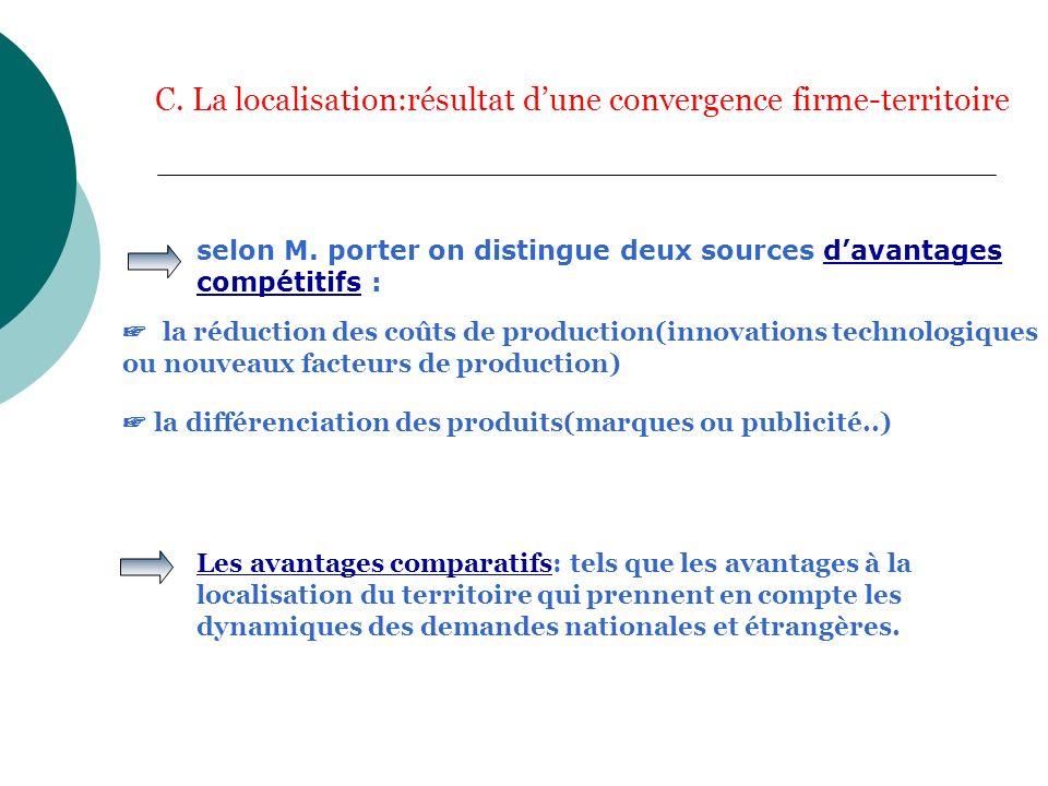 C. La localisation:résultat dune convergence firme-territoire selon M. porter on distingue deux sources davantages compétitifs : la réduction des coût