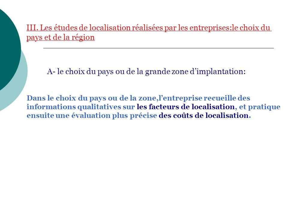 III. Les études de localisation réalisées par les entreprises:le choix du pays et de la région Dans le choix du pays ou de la zone,lentreprise recueil