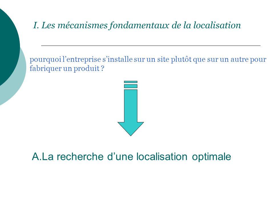 I. Les mécanismes fondamentaux de la localisation pourquoi lentreprise sinstalle sur un site plutôt que sur un autre pour fabriquer un produit ? A.La