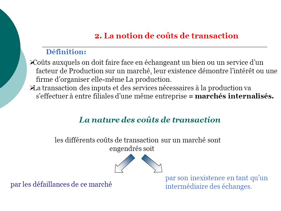 2. La notion de coûts de transaction Définition: La nature des coûts de transaction les différents coûts de transaction sur un marché sont engendrés s