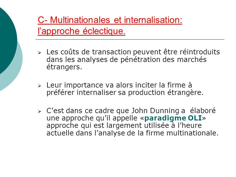 C- Multinationales et internalisation: lapproche éclectique. Les coûts de transaction peuvent être réintroduits dans les analyses de pénétration des m