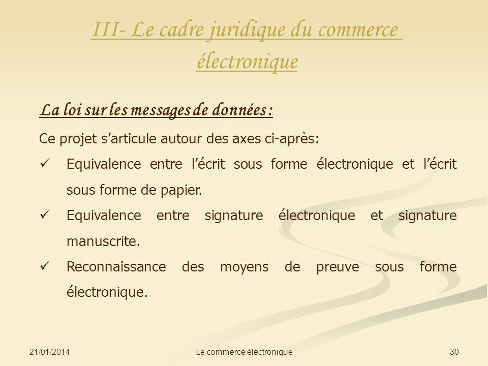 21/01/2014 30Le commerce électronique III- Le cadre juridique du commerce électronique La loi sur les messages de données : Ce projet sarticule autour