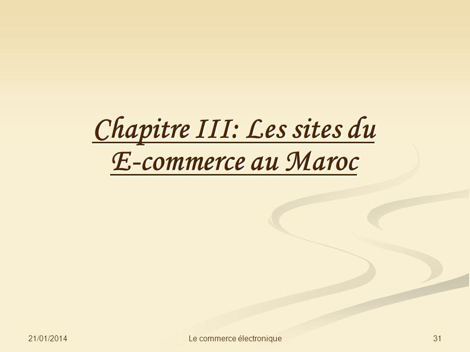21/01/2014 31Le commerce électronique Chapitre III: Les sites du E-commerce au Maroc