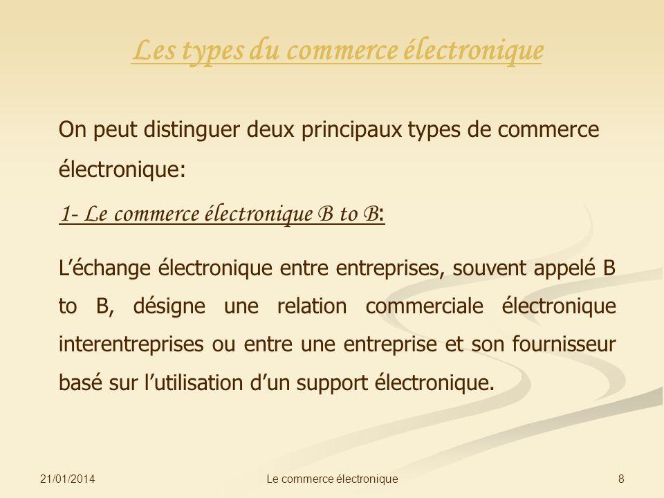 21/01/2014 8Le commerce électronique Les types du commerce électronique On peut distinguer deux principaux types de commerce électronique: 1- Le comme