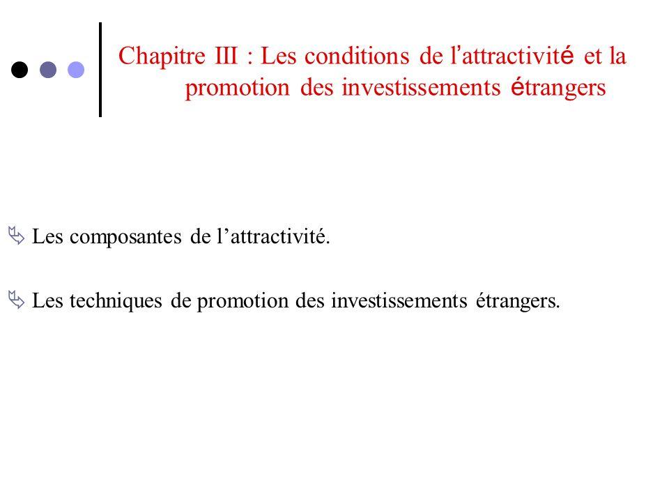 Chapitre III : Les conditions de l attractivit é et la promotion des investissements é trangers Les composantes de lattractivité. Les techniques de pr