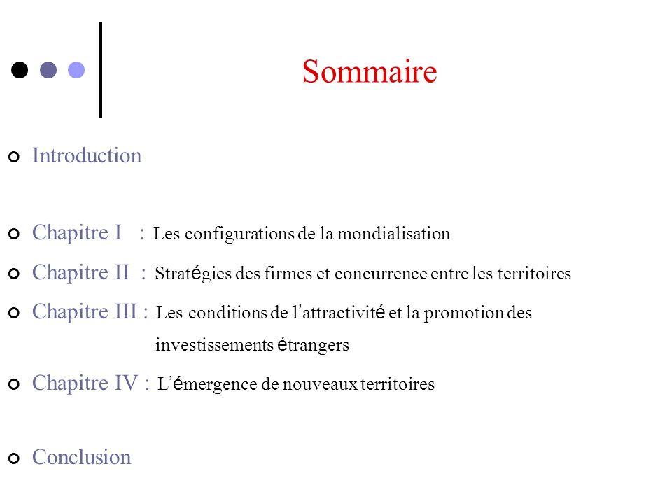 Sommaire Introduction Chapitre I : Les configurations de la mondialisation Chapitre II : Strat é gies des firmes et concurrence entre les territoires