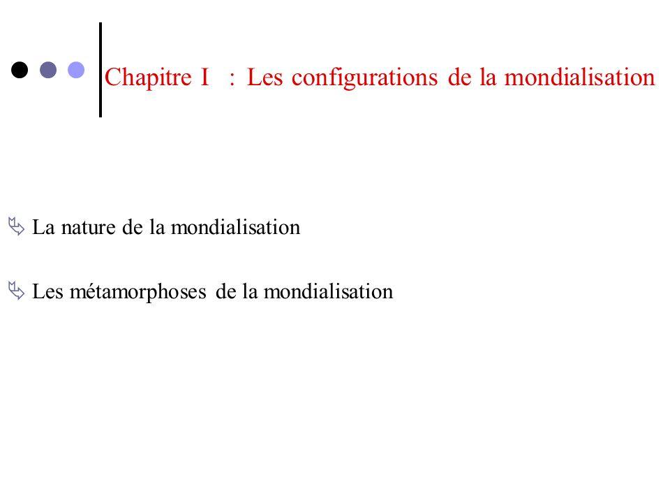 Chapitre I : Les configurations de la mondialisation La nature de la mondialisation Les métamorphoses de la mondialisation