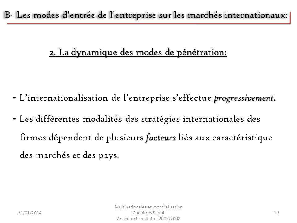 21/01/2014 Multinationales et mondialisation Chapitres 3 et 4 Année universitaire: 2007/2008 13 - progressivement. - Linternationalisation de lentrepr