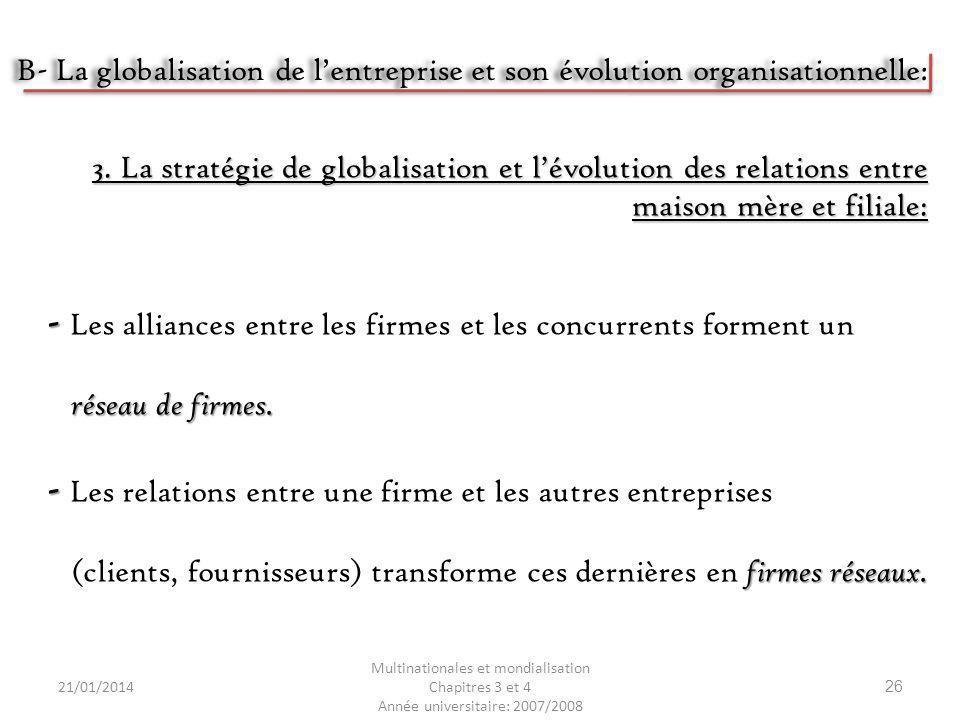 21/01/2014 Multinationales et mondialisation Chapitres 3 et 4 Année universitaire: 2007/2008 26 - - Les alliances entre les firmes et les concurrents