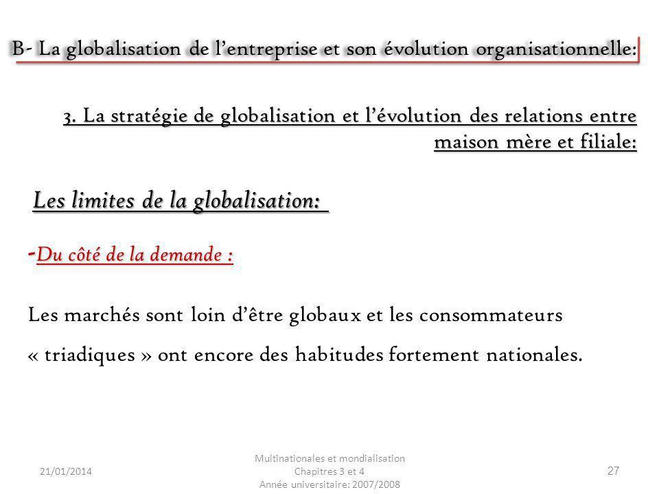 21/01/2014 Multinationales et mondialisation Chapitres 3 et 4 Année universitaire: 2007/2008 27 - Du côté de la demande : Les marchés sont loin dêtre