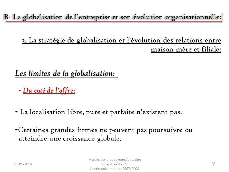 21/01/2014 Multinationales et mondialisation Chapitres 3 et 4 Année universitaire: 2007/2008 28 Les limites de la globalisation: 3. La stratégie de gl