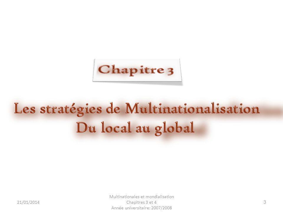 21/01/2014 Multinationales et mondialisation Chapitres 3 et 4 Année universitaire: 2007/2008 14 1- filiale de production 1- La création ou lacquisition dune filiale de production ; 2- Le partenariat 2- Le partenariat inter-entreprises qui peut se concrétiser par: joint-venture ; La constitution dune joint-venture ; consortium ; Le consortium ; alliance stratégique L alliance stratégique.