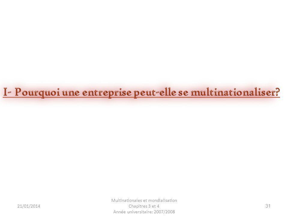 21/01/2014 Multinationales et mondialisation Chapitres 3 et 4 Année universitaire: 2007/2008 31
