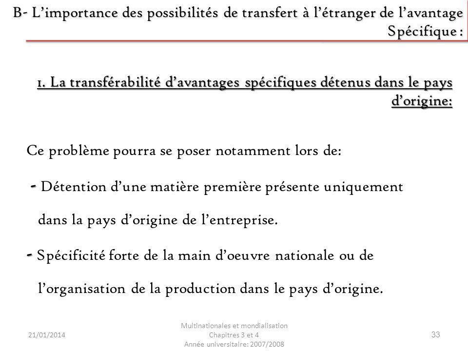 21/01/2014 Multinationales et mondialisation Chapitres 3 et 4 Année universitaire: 2007/2008 33 B- Limportance des possibilités de transfert à létrang