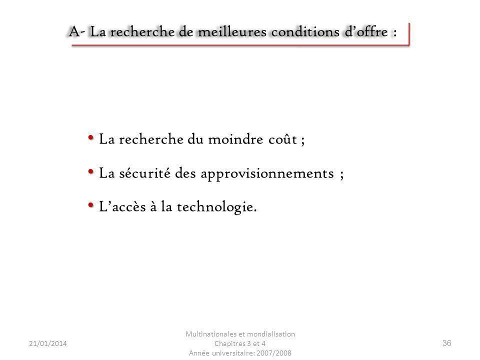 21/01/2014 Multinationales et mondialisation Chapitres 3 et 4 Année universitaire: 2007/2008 36 A- La recherche de meilleures conditions doffre : La r