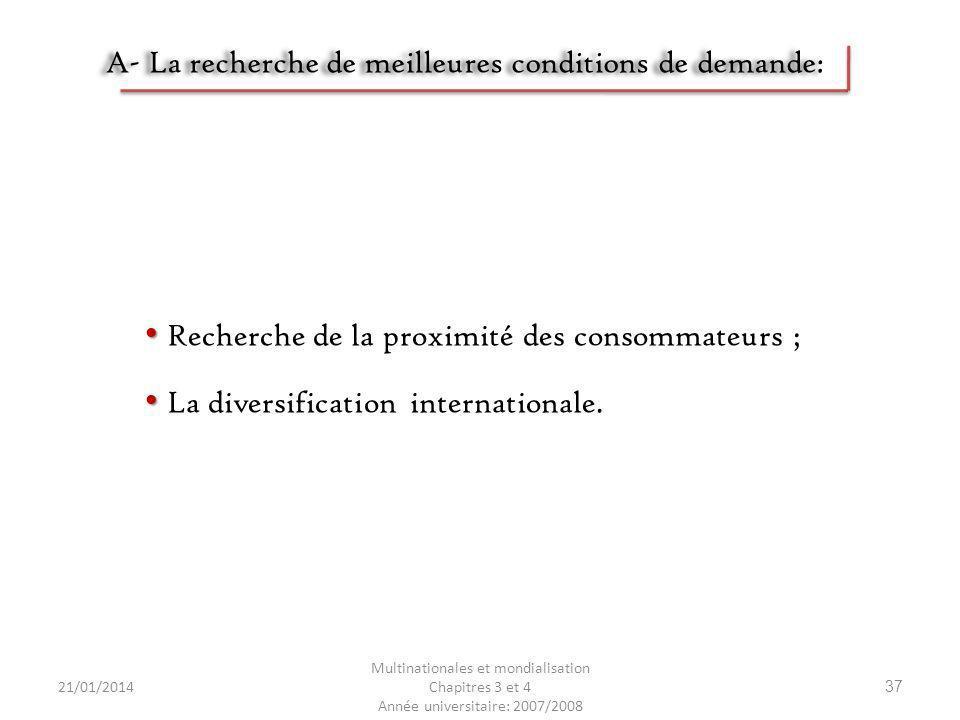 21/01/2014 Multinationales et mondialisation Chapitres 3 et 4 Année universitaire: 2007/2008 37 A- La recherche de meilleures conditions de demande: R