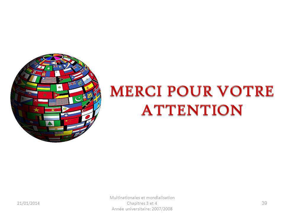 21/01/2014 Multinationales et mondialisation Chapitres 3 et 4 Année universitaire: 2007/2008 39