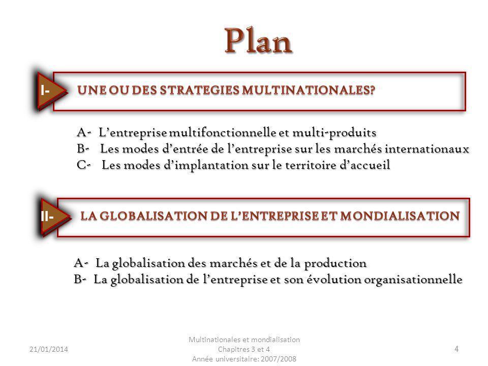 21/01/2014 Multinationales et mondialisation Chapitres 3 et 4 Année universitaire: 2007/2008 4 A- Lentreprise multifonctionnelle et multi-produits B-
