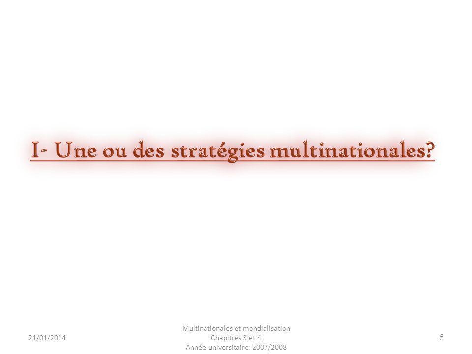 21/01/2014 Multinationales et mondialisation Chapitres 3 et 4 Année universitaire: 2007/2008 26 - - Les alliances entre les firmes et les concurrents forment un réseau de firmes.