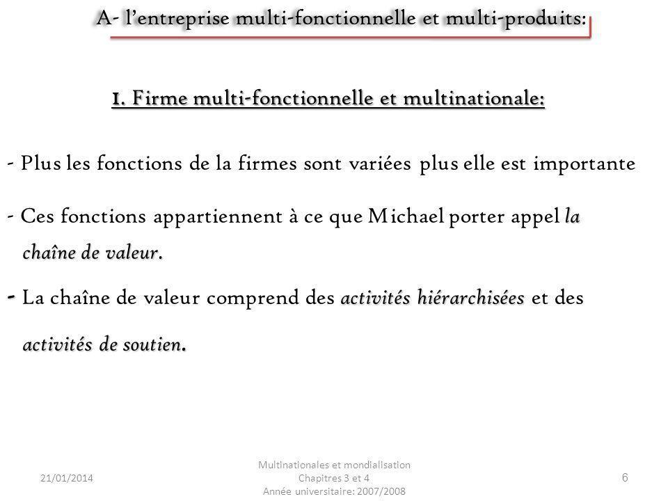 21/01/2014 Multinationales et mondialisation Chapitres 3 et 4 Année universitaire: 2007/2008 7 - - La dispersion des différentes fonctions de lentreprise sur plusieurs lieu géographique.
