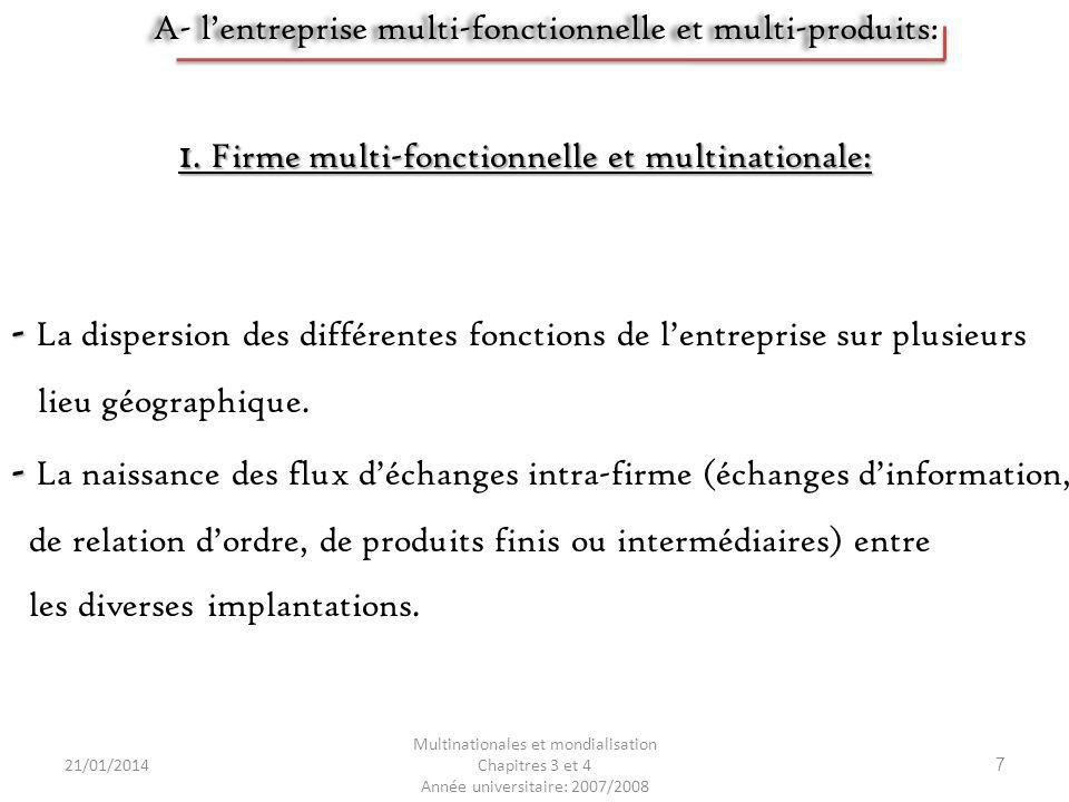 21/01/2014 Multinationales et mondialisation Chapitres 3 et 4 Année universitaire: 2007/2008 7 - - La dispersion des différentes fonctions de lentrepr
