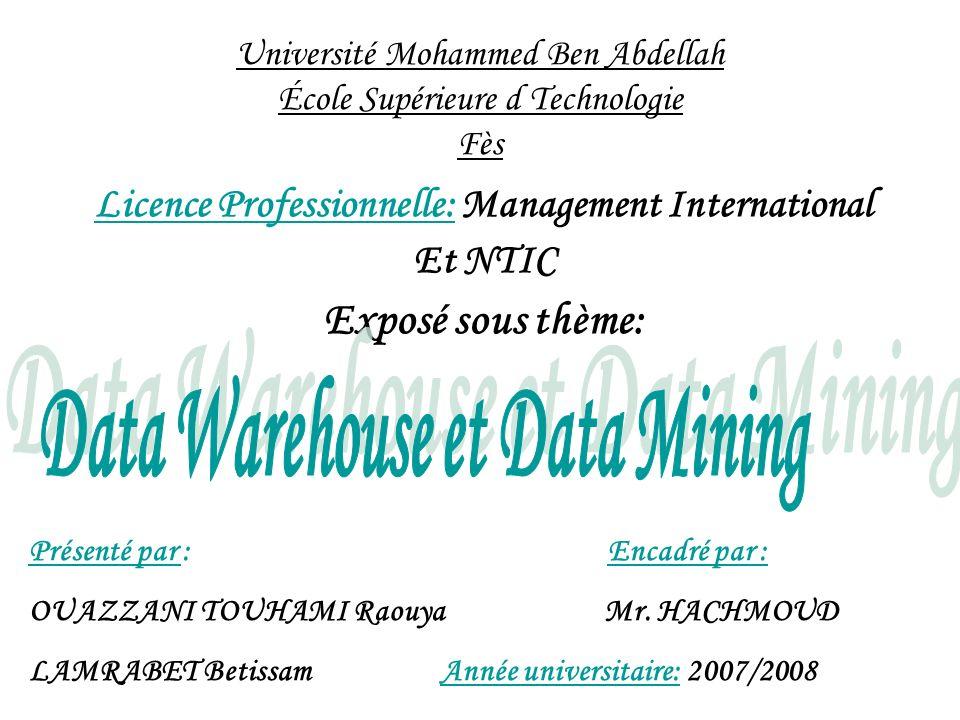 Data Warehouse Bases de production Bases externes Outils dalimentation Data Marts IV- Le Data Mining dans l architecture du Data WareHouse Meta données (Dictionnaire ) Utilisateurs SIAD Utilisateurs EIS Utilisateurs requêteurs OLAP Data Mining
