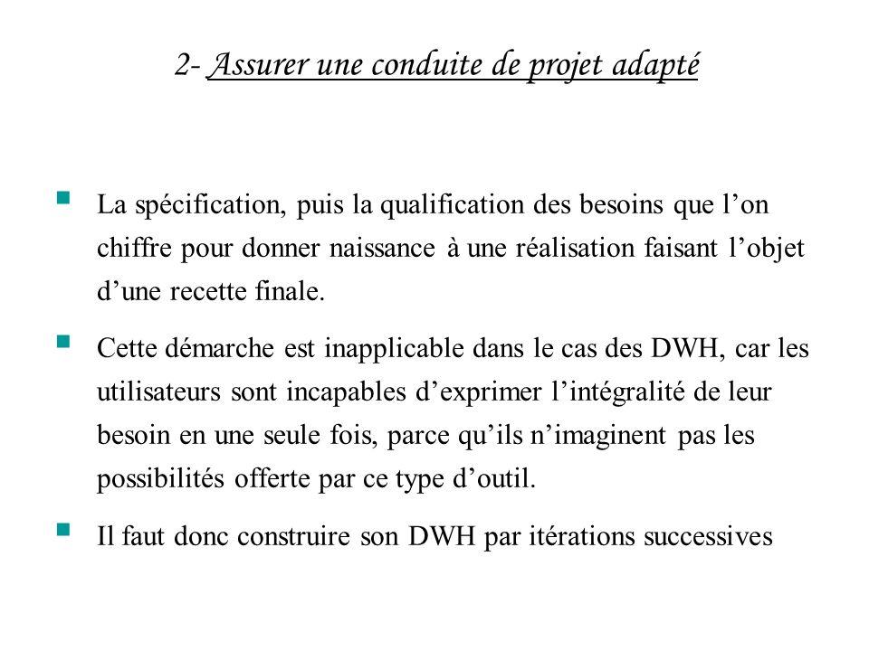 2- Assurer une conduite de projet adapté La spécification, puis la qualification des besoins que lon chiffre pour donner naissance à une réalisation f
