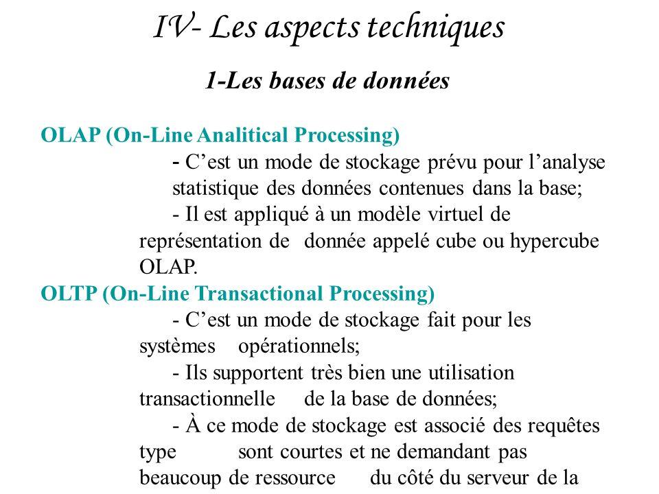 IV- Les aspects techniques 1-Les bases de données OLAP (On-Line Analitical Processing) - Cest un mode de stockage prévu pour lanalyse statistique des