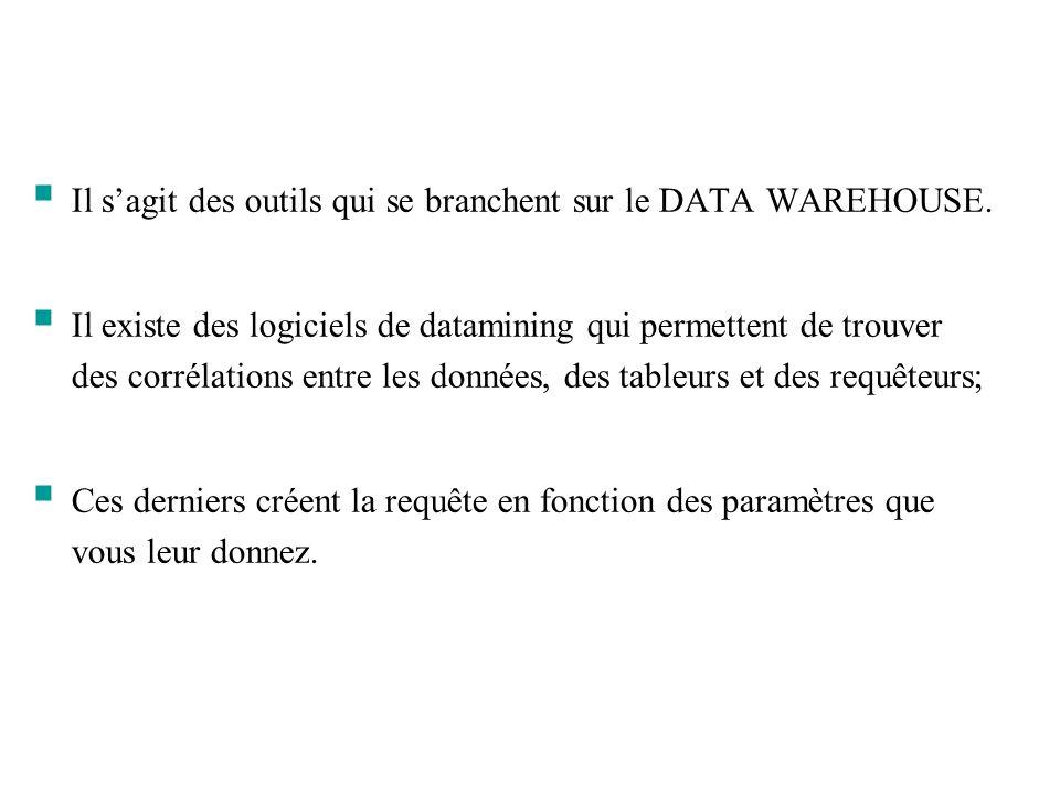 Il sagit des outils qui se branchent sur le DATA WAREHOUSE. Il existe des logiciels de datamining qui permettent de trouver des corrélations entre les