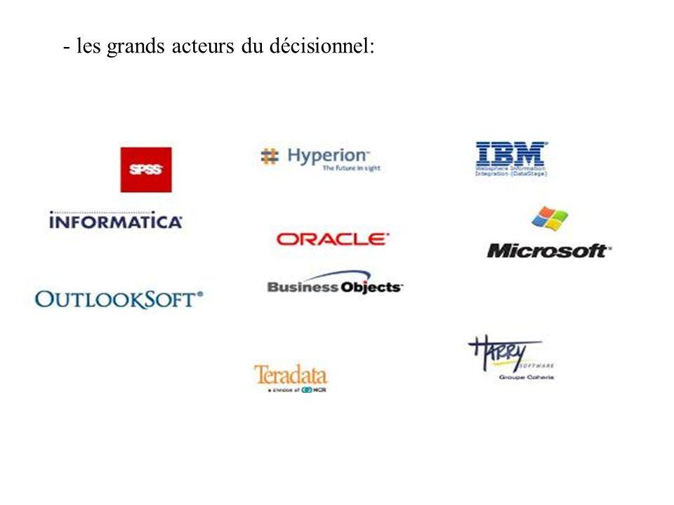 - les grands acteurs du décisionnel: