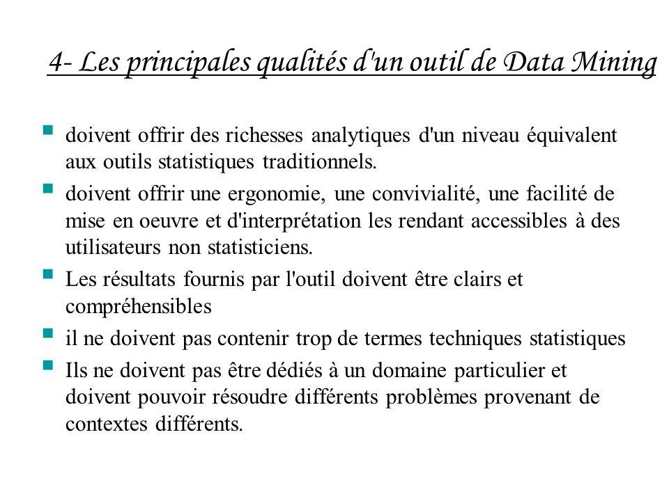 4- Les principales qualités d'un outil de Data Mining doivent offrir des richesses analytiques d'un niveau équivalent aux outils statistiques traditio