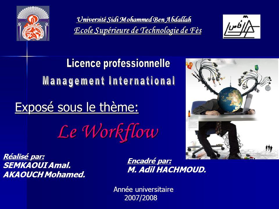 Exposé sous le thème: Le Workflow Le Workflow Année universitaire 2007/2008 Réalisé par: SEMKAOUI Amal. AKAOUCH Mohamed. Encadré par: M. Adil HACHMOUD