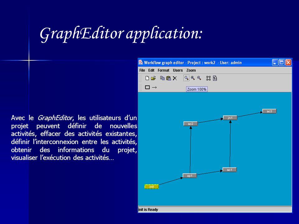 GraphEditor application: Avec le GraphEditor, les utilisateurs dun projet peuvent définir de nouvelles activités, effacer des activités existantes, définir linterconnexion entre les activités, obtenir des informations du projet, visualiser lexécution des activités…