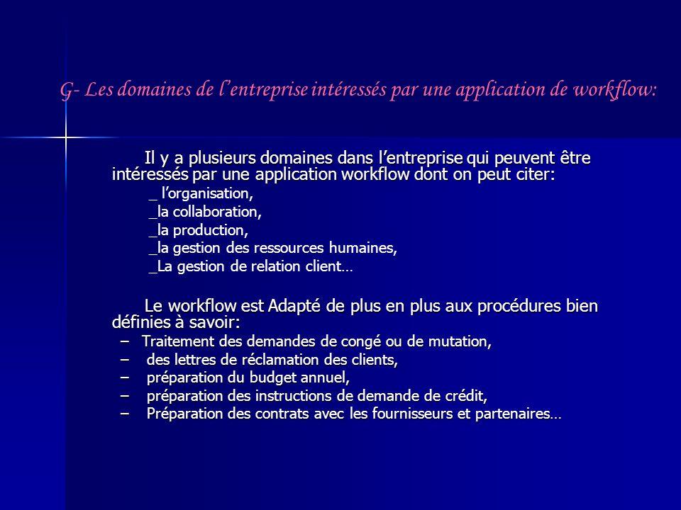 G- Les domaines de lentreprise intéressés par une application de workflow: Il y a plusieurs domaines dans lentreprise qui peuvent être intéressés par