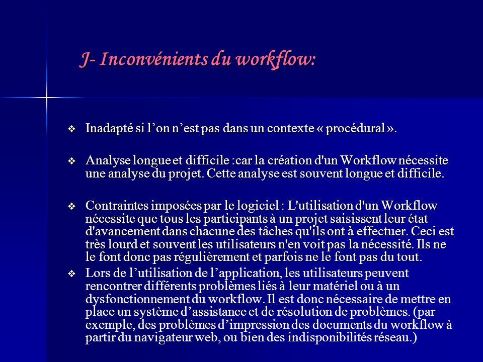 J- Inconvénients du workflow: Inadapté si lon nest pas dans un contexte « procédural ». Inadapté si lon nest pas dans un contexte « procédural ». Anal