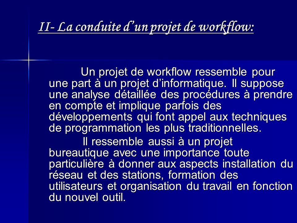 II- La conduite dun projet de workflow: Un projet de workflow ressemble pour une part à un projet dinformatique. Il suppose une analyse détaillée des