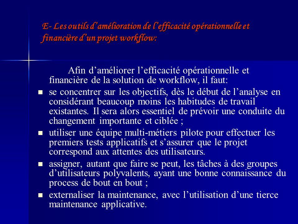 E- Les outils damélioration de lefficacité opérationnelle et financière dun projet workflow: Afin daméliorer lefficacité opérationnelle et financière