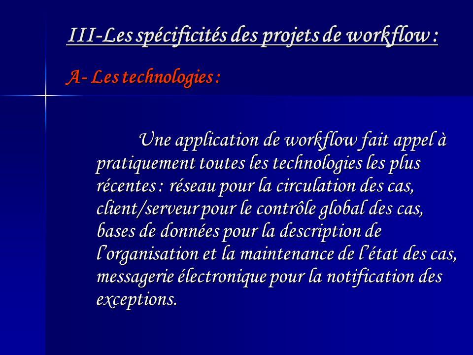 III-Les spécificités des projets de workflow : Une application de workflow fait appel à pratiquement toutes les technologies les plus récentes : résea