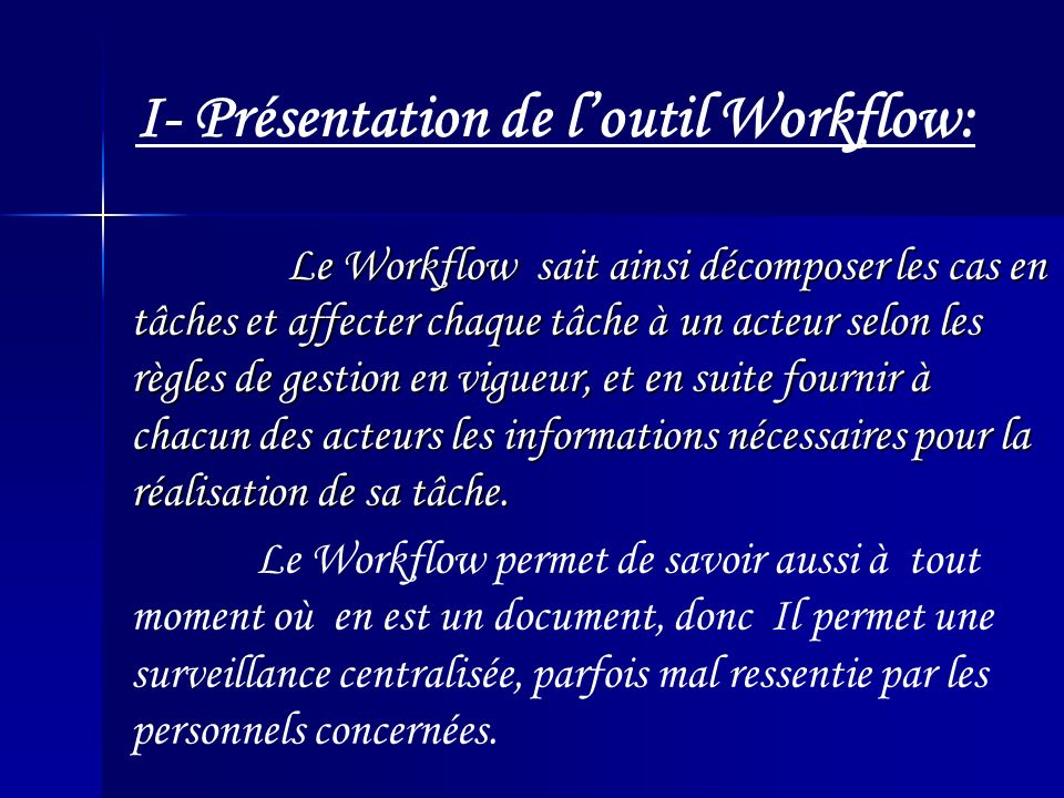 Worklist dutilisateur ou le Manager Application: