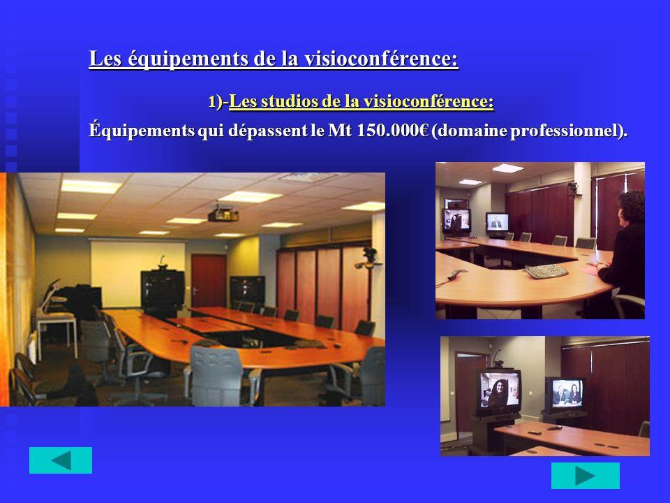 Les équipements de la visioconférence: 1 )-Les studios de la visioconférence: 1 )-Les studios de la visioconférence: Équipements qui dépassent le Mt 1