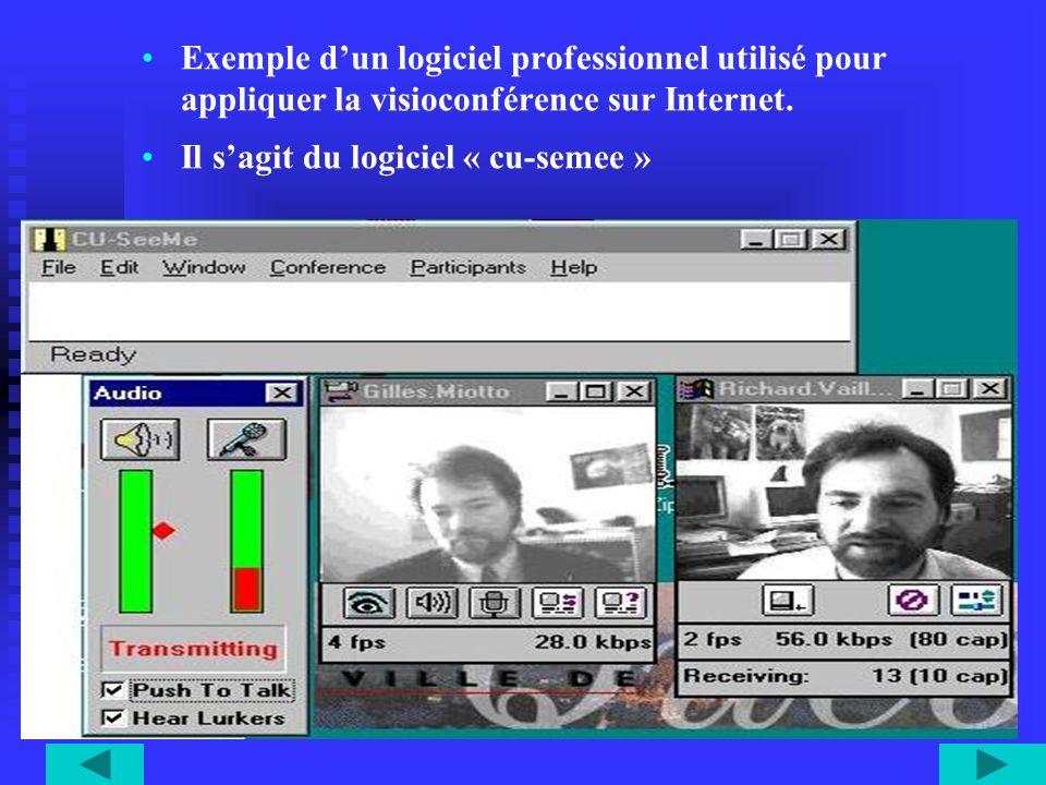 Exemple dun logiciel professionnel utilisé pour appliquer la visioconférence sur Internet. Il sagit du logiciel « cu-semee »