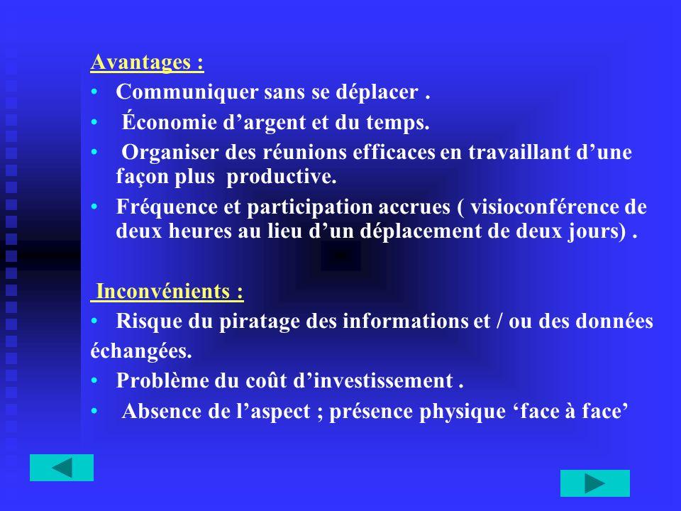 Avantages : Communiquer sans se déplacer. Économie dargent et du temps. Organiser des réunions efficaces en travaillant dune façon plus productive. Fr