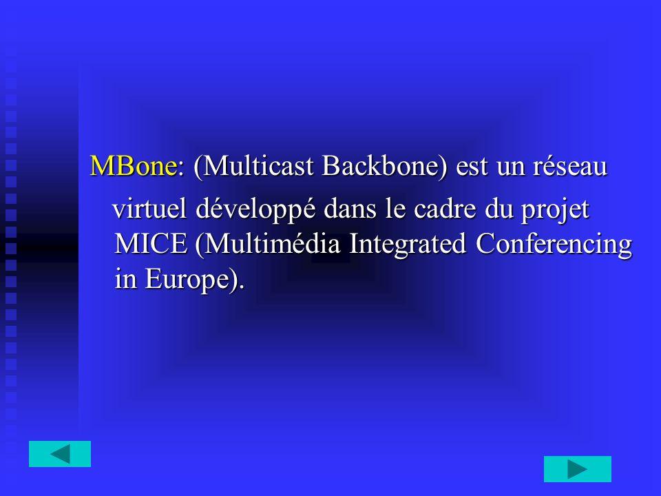MBone: (Multicast Backbone) est un réseau virtuel développé dans le cadre du projet MICE (Multimédia Integrated Conferencing in Europe). virtuel dével