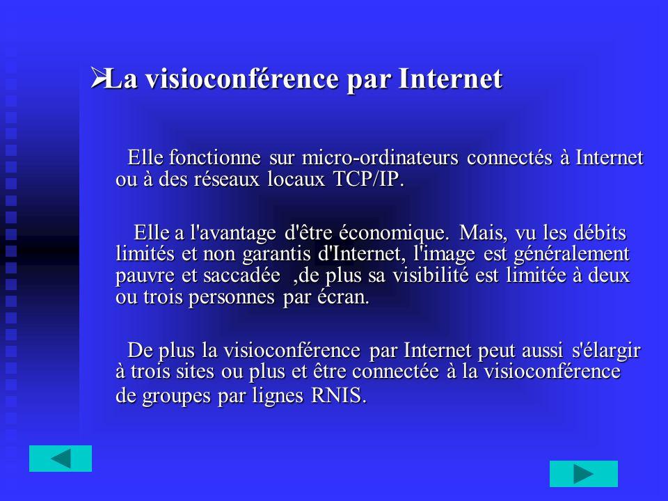 La visioconférence par Internet La visioconférence par Internet Elle fonctionne sur micro-ordinateurs connectés à Internet ou à des réseaux locaux TCP