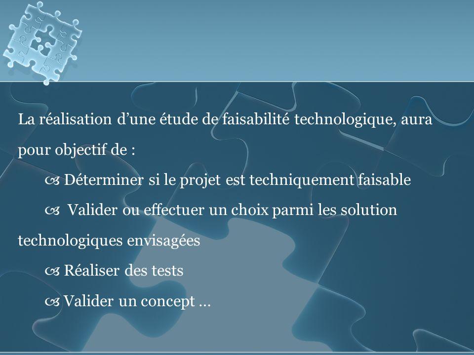 La réalisation dune étude de faisabilité technologique, aura pour objectif de : Déterminer si le projet est techniquement faisable Valider ou effectuer un choix parmi les solution technologiques envisagées Réaliser des tests Valider un concept …
